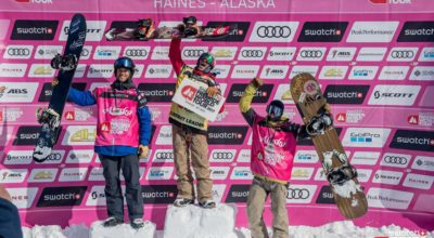 The top three snowboard men Ryland Bell, Sammy Luebke and Davey Baird. (Courtesy Freeride World Tour)
