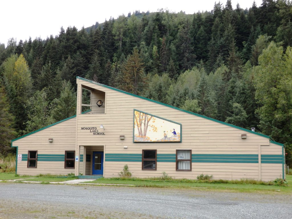 The Mosquito Lake School, now used as a community center. (Emily Files)