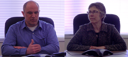 Brad Ryan and Debra Schnabel at preliminary interviews with the assembly. (Emily Files)