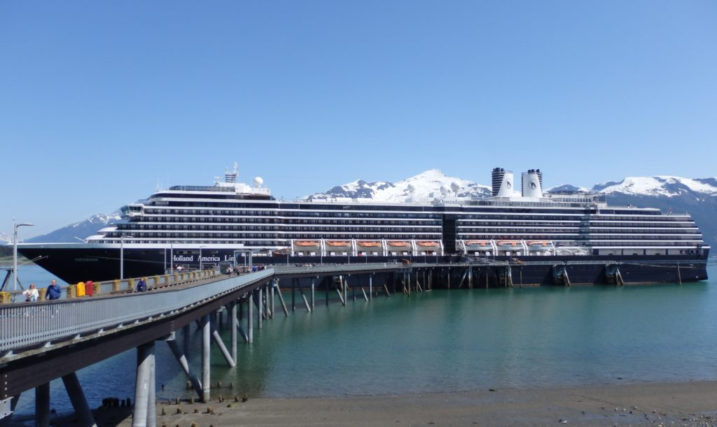 A Holland America cruise ship docked in Haines in 2015. (Emily Files)