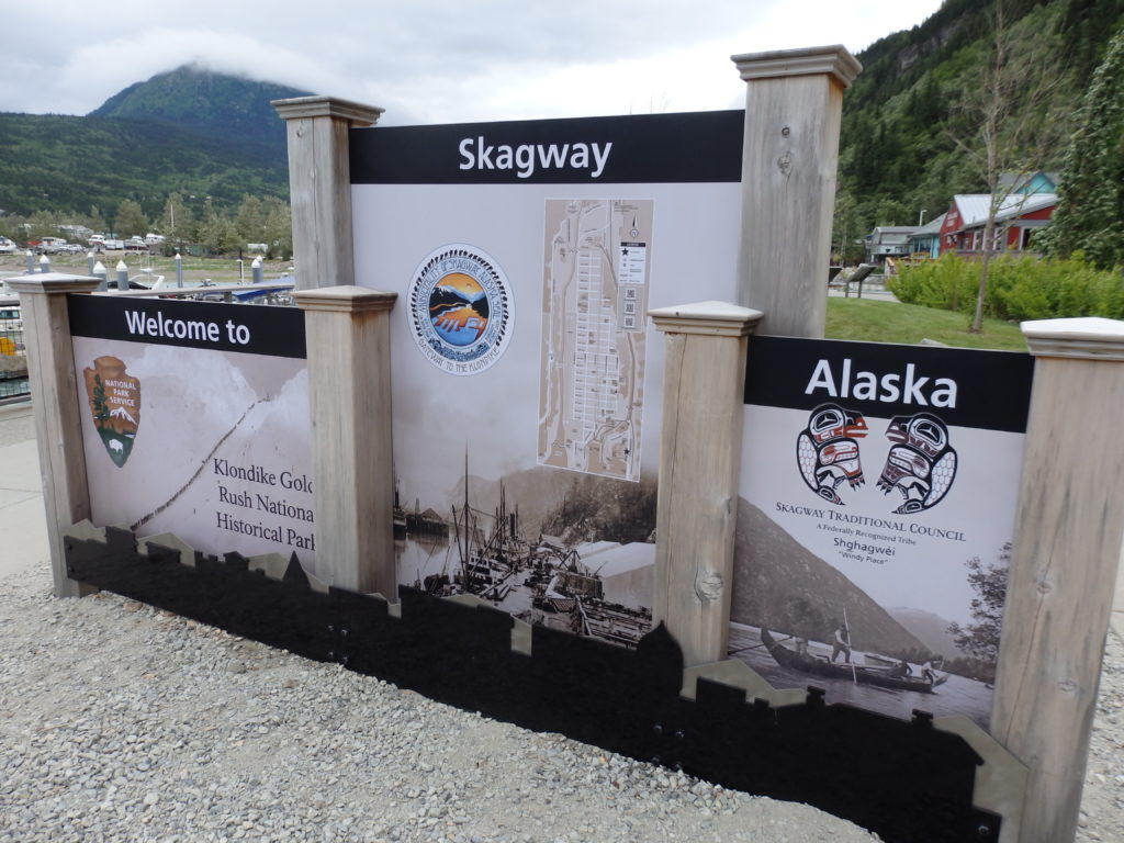 A sign welcoming visitors to Skagway. (KHNS photo)
