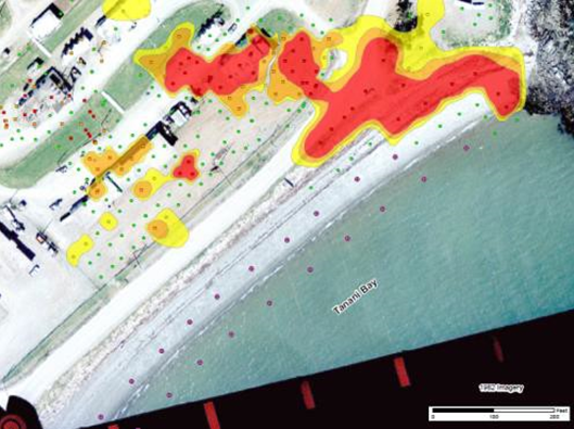 A graphic from North Wind shows the contamination that appears to have migrated from the tank farm to the beach. (North Wind, Inc.)