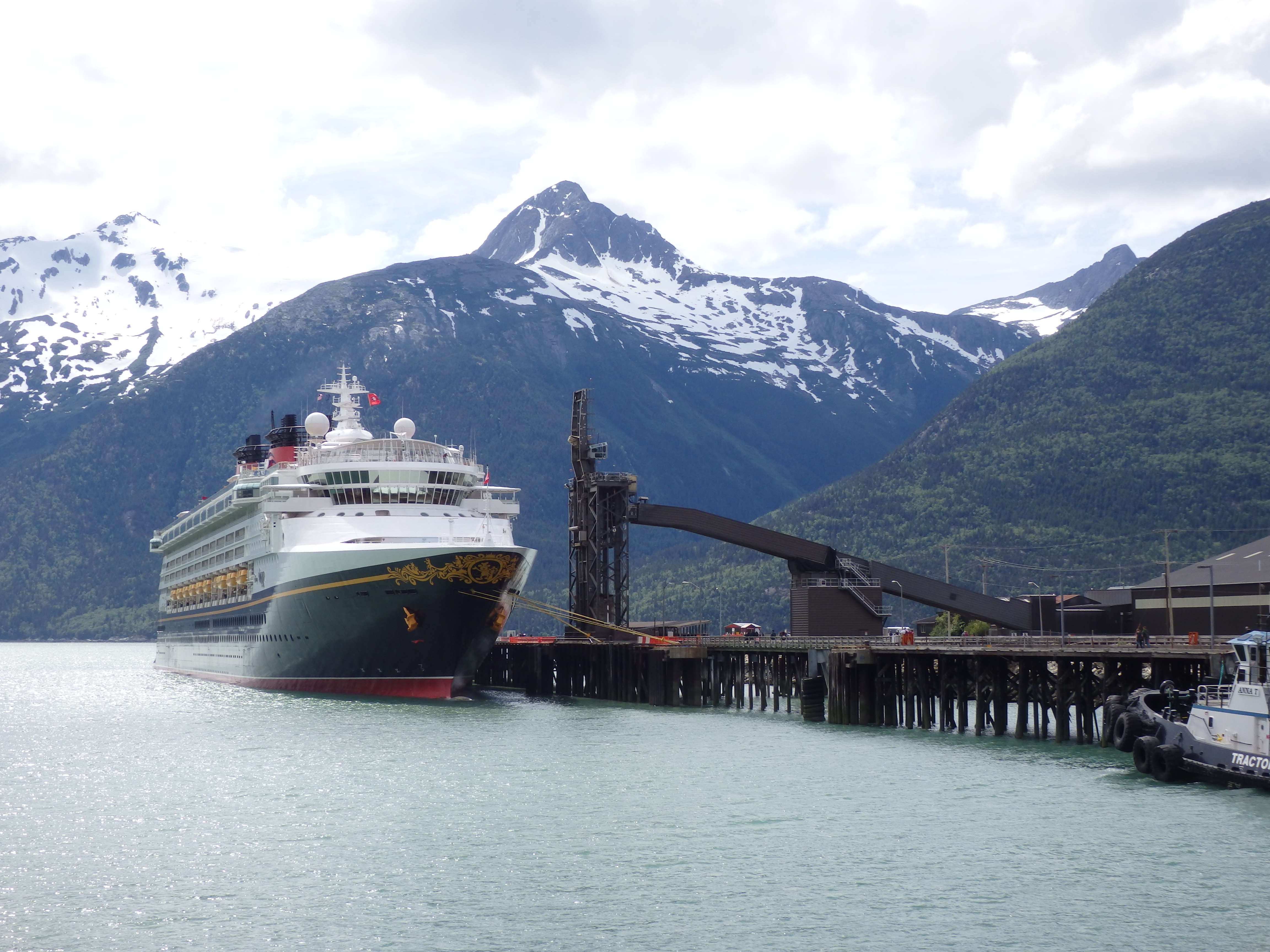 A cruise ship moored at Skagway's ore dock. Port consultants recommend Skagway act immediately to modify the ore dock for larger vessels. (Emily Files)