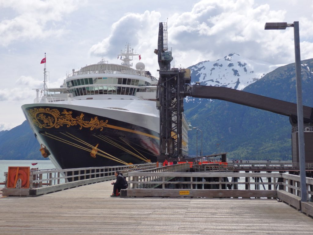 A Disney cruise ship tied up at Skagway's ore dock. (Emily Files)