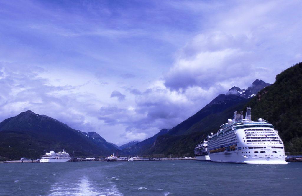Cruise ships docked in Skagway's port. (Emily Files)