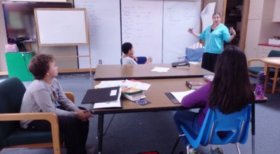 Klukwan School Teacher Jessica Tipkemper with students at the start of the 2016-17 school year. (Emily Files)
