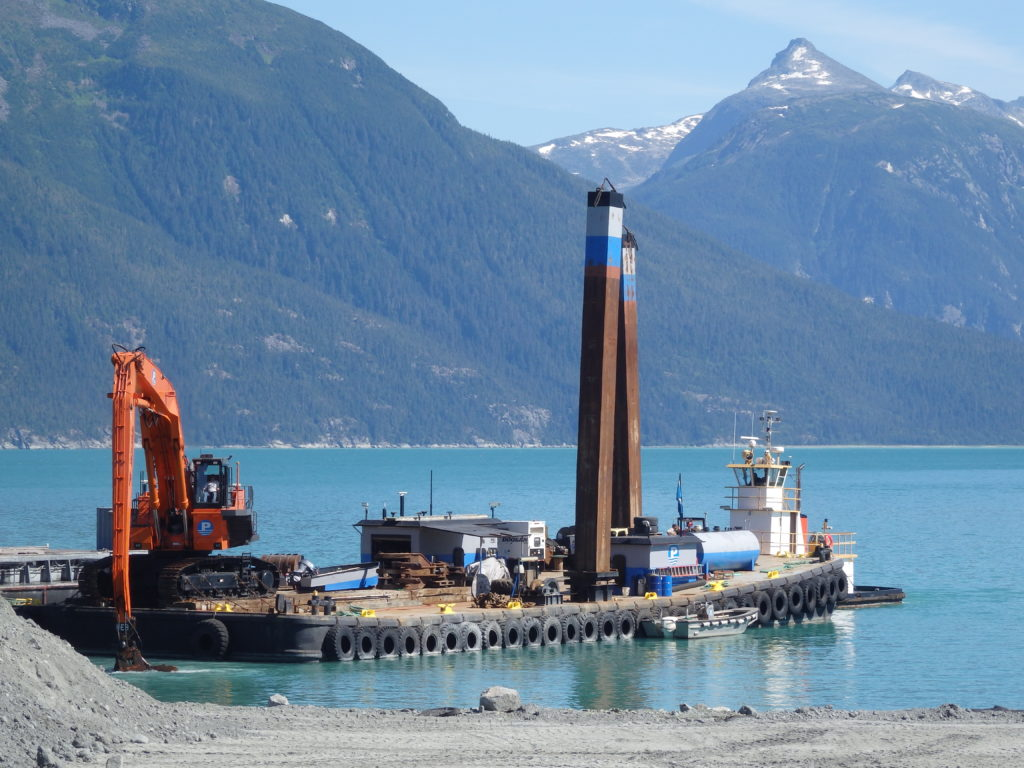 Dredging during the first phase of the Haines small boat harbor expansion project in August. (Abbey Collins)