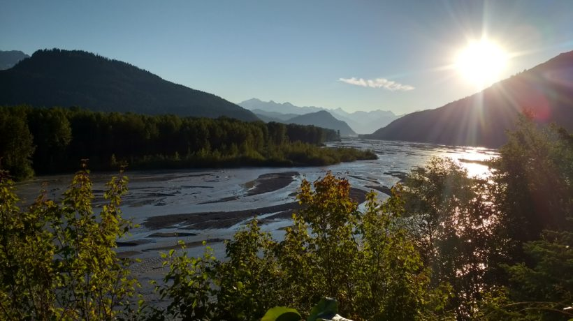 The sun sets over the Klehini River in Haines Sunday, Aug. 6. (Emily Files)
