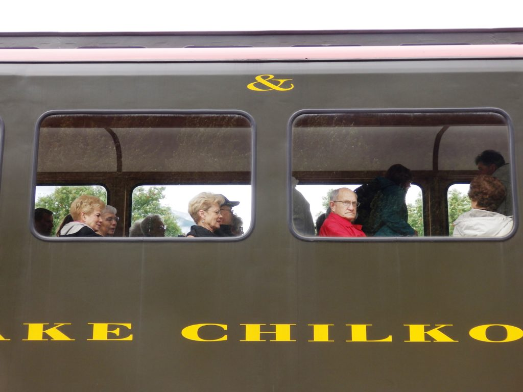 Passengers wait for a White Pass and Yukon Route train ride to start. (Emily Files)