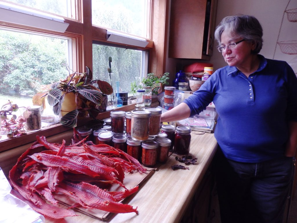 Kimberly Strong is Jeremy's aunt and the Chilkat Indian Village tribal council president. She stands in her kitchen with processed salmon her nephew will bring back to Sitka. (Emily Files)