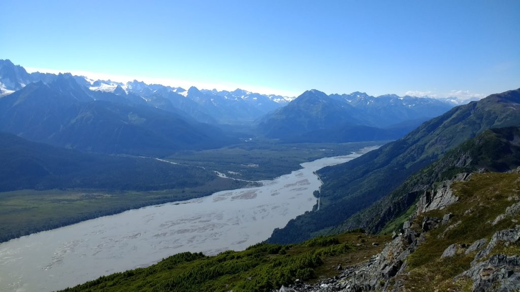 The Chilkat River as seen from Mount Ripinsky in summer of 2017. (Emily Files)