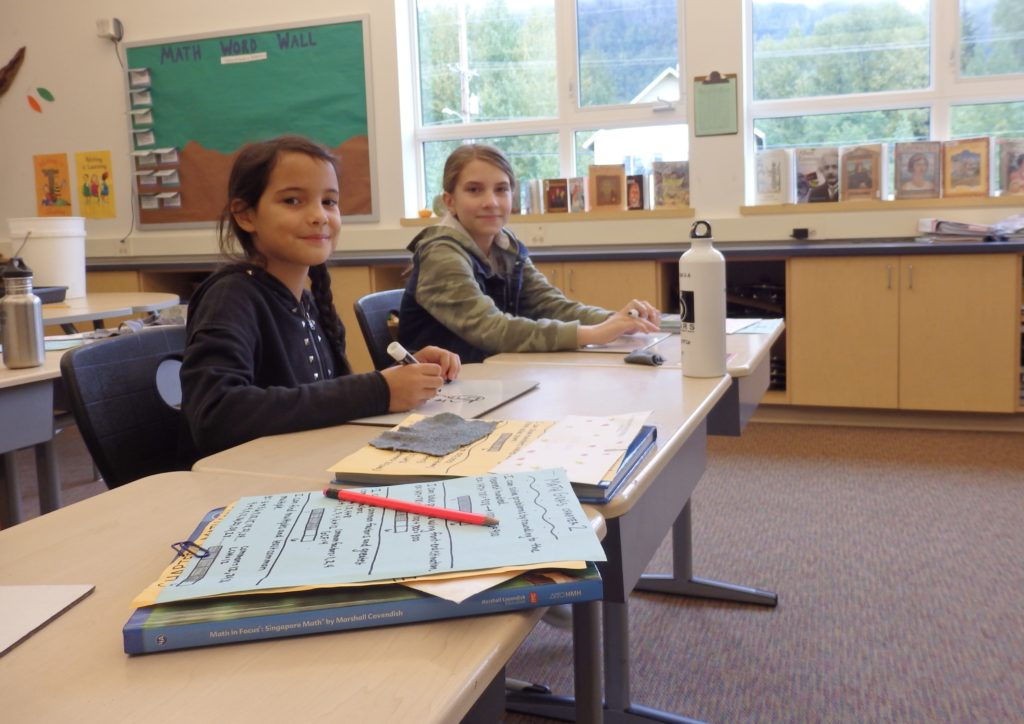 Costanza Marabini (left) went to school in Haines for about a month while visiting a family friend. (Emily Files)