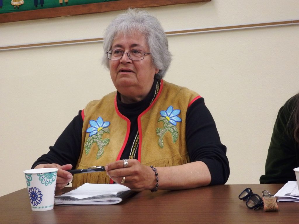 Haines mayor Jan Hill at a candidate forum Sept. 13. (Emily Files)