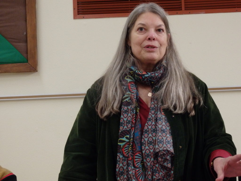 Joanie Wagner at a Mosquito Lake forum Sept. 13. (Emily Files)