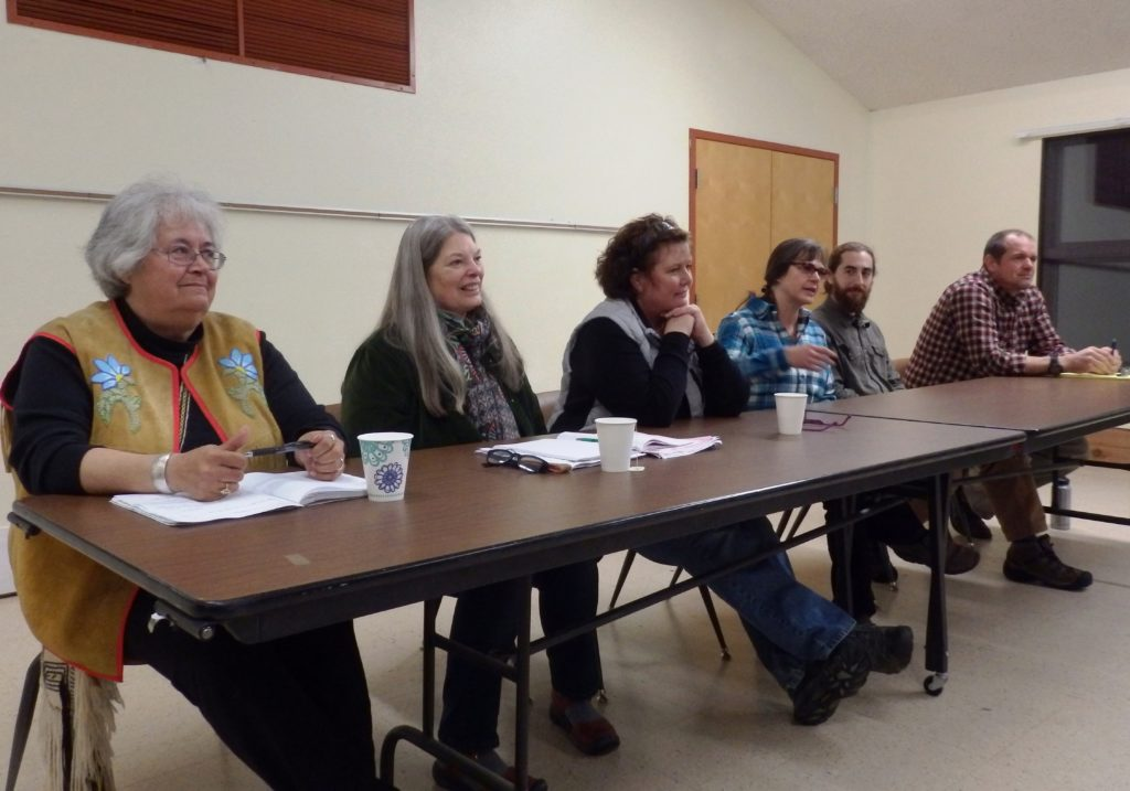 Mayor candidates Jan Hill and Joanie Wagner, along with assembly candidates Diana Lapham, Brenda Josephson, Sean Maidy and Michael Fullerton at a Mosquito Lake forum. (Emily Files)