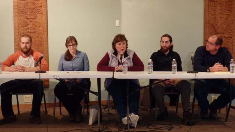 Assembly candidates Andrew Gray, Brenda Josephson, Diana Lapham, Sean Maidy and Michael Fullerton at the KHNS and Chilkat Valley News candidate forum Sept. 18. (Abbey Collins)