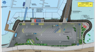 Concept design 1C, which engineer Brandon Ivanowicz said is the best option, with balance of required parking and added greenery. (PND Engineers)