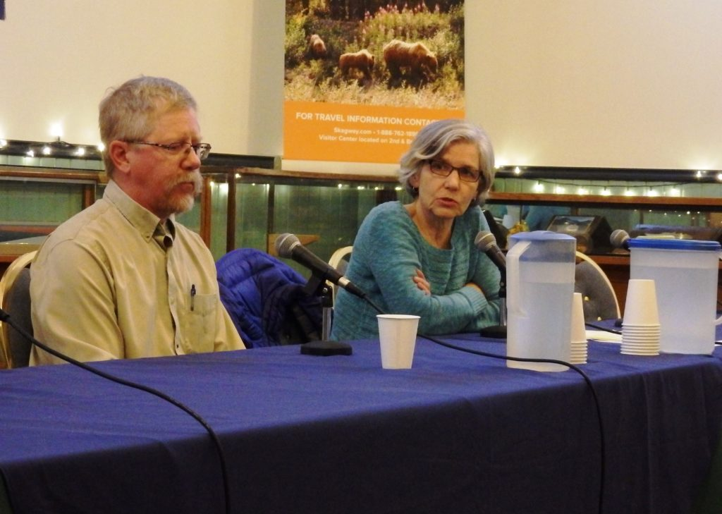 Mark Schaefer and Monica Carlson at a KHNS and Skagway News forum Sept. 29. (Emily Files)