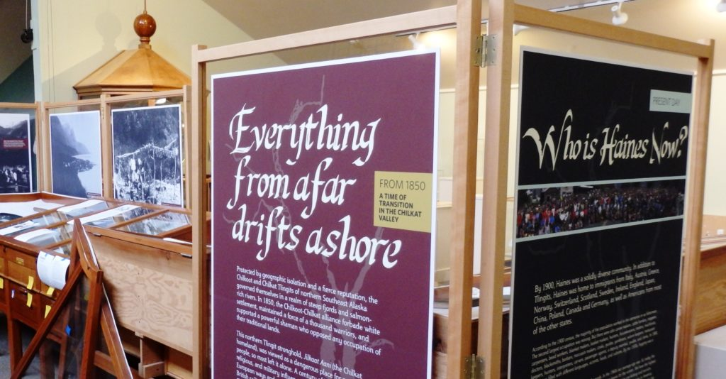 Displays in the new Haines Sheldon Museum exhibit 'Everything from afar drifts ashore.' (Emily Files)