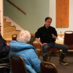 Senator Jesse Kiehl discusses state budget at town hall meeting in Haines